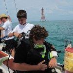 At Sombrero Reef Lighthouse, Benjamin assist William.