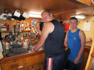 The galley is a little tight for some guys.  Cameron is one of those.....