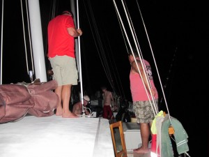 Just after a big baracuda is brought aboard, these clever fellows decide to get their toes off deck level!