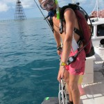 Divemaster Dean ready to splash at Sand Key Lighthouse.