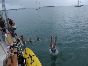 Diving in the anchorage off Fleming Key.