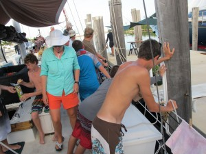 Putting out the fender for our night at the dock.