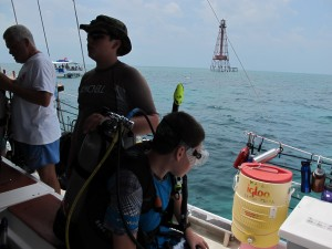 Getting ready to dive Sombrero Reef.