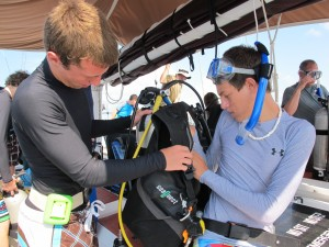 Gearing up for diving.