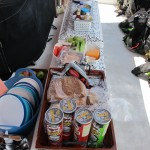 Lunch sits untouched because everyone is embroiled in landing a big fish!  Usually it impossible to see the buffett layout because the boys swarm the food like a cloud of locusts!!!!:)