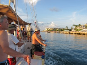 Cruising past the famous Mallory Square Sunset Festival.