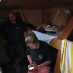 At their bunks....