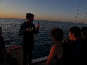 Briefing for the night dive.