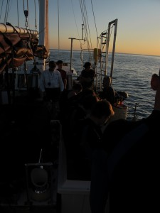 Captain Denny briefs the night divers.