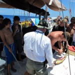 Everyone wants to crowd around to see the filleting.