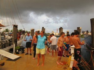 It's chaos on the dock as we clean and prepare the lobsters for our dinner.  Stormy weather has plagued us all week because of Hurricane Irene.
