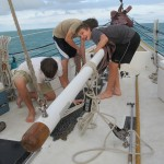 Readying the chain to deploy the anchor.