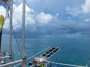 A storm approaches as we dive near Key West.  It went around us, did not disrupt our dive.