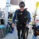 Instructor Will returns from a dive