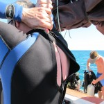Getting the wetsuit zipped!