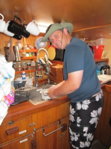Chris doesn't quite fit in the galley!