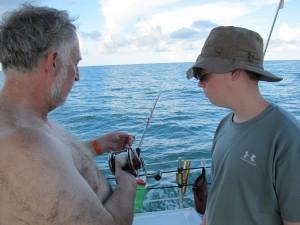 James and Bob at the reel.