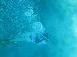 Megan underwater---her happy place!