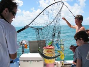 Alex nets the catch.