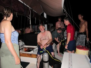 Changing tanks to prepare for Wednesday's dawn dive.