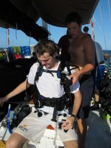 Spencer assist Alex after a dive.